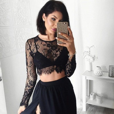 Sexy Black Long Sleeve 2020 Prom Dress Two Pieces Lace Front Split BA4951_6