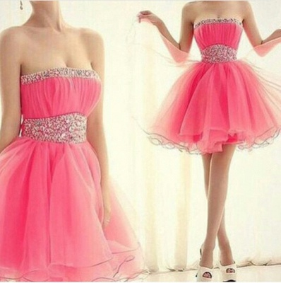 Lovely Strapless Sleeveless Organza Homecoming Dress Short With Beadings_2