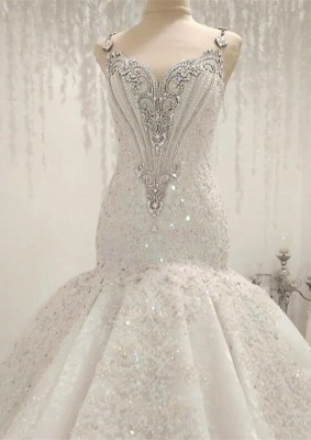 Luxurious 2020 Sleeveless Appliques Wedding Dress | Mermaid Beading Crystals Bridal Gown_1