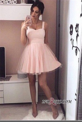 Pink Mini A-Line Straps Cheap Simple Tulle Homecoming Dresses_2