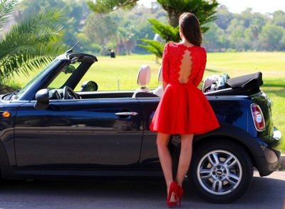 Modern Half-sleeve Red Short Homecoming Dress With Lace_2