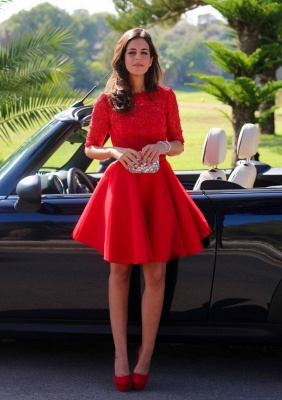 Modern Half-sleeve Red Short Homecoming Dress With Lace_1