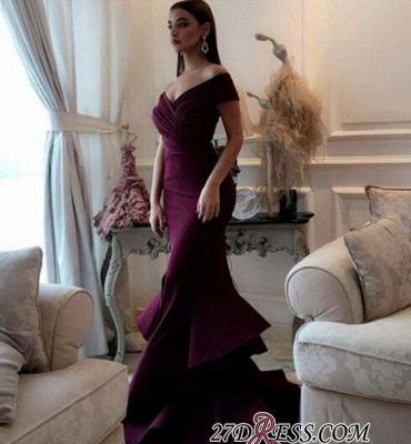 Burgundy off-shoulder Prom Dresses | 2020 Mermaid Evening Gowns With Ruffles_2