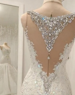 Luxurious 2020 Sleeveless Appliques Wedding Dress | Mermaid Beading Crystals Bridal Gown_2