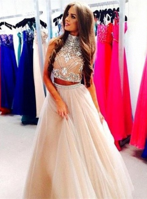 Gorgeous Two Pieces High-Neck Prom Dresses 2020 Beadings tulle A-Line_3