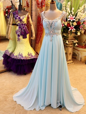 A-Line Backless Blue Evening Dresses V-Neck Crystal Beading Blingbling Prom Gowns_1