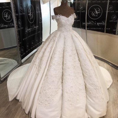 Romantic Lace Off-the-shoulder Wedding Dress | 2020 Ball Gown Bridal Gown_2