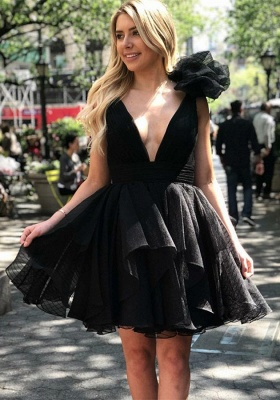 Sexy V-Neck Black Homecoming Dresses | 2020 Short Little Black Dress_1