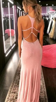 Elegant Halter 2020 Mermaid Prom Dresses | Crystal Pink Long Evening Gowns BC0601_2