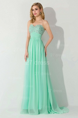 Modern Chiffon A-line Crystals Evening Dress Sweetheart Sleeveless_3