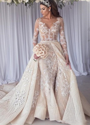 Sexy Long Sleeves Lace Wedding Dress | Mermaid Overskirt Bridal Gowns BC1390_1