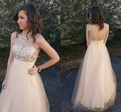 Elegant Sleeveless 2020 Prom Dress Tulle Crystal Evening Gowns_3