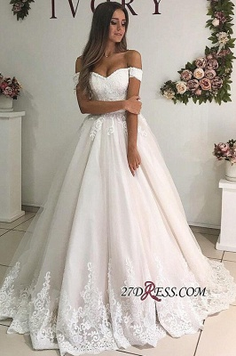 A-line Floor-Length Elegant Off-the-shoulder Appliques Wedding Dresses_1