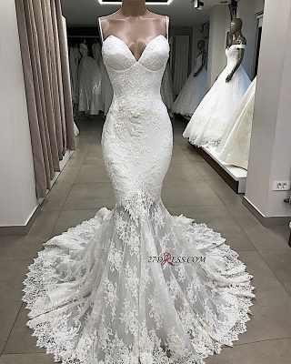 Appliques Glorious Mermaid Sleeveless Spaghetti-Straps Wedding Dresses_2