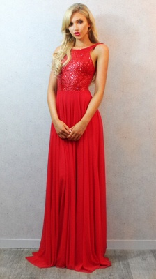 Sequins Long Red Chiffon Prom Dress with 2020 Sexy Backless Womens Evening Party Gowns_1
