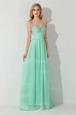 Modern Chiffon A-line Crystals Evening Dress Sweetheart Sleeveless_1