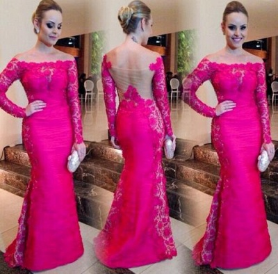Newest Fuchsia Long Sleeve Mermaid Evening Dress 2020 Lace Off-the-shoulder_3