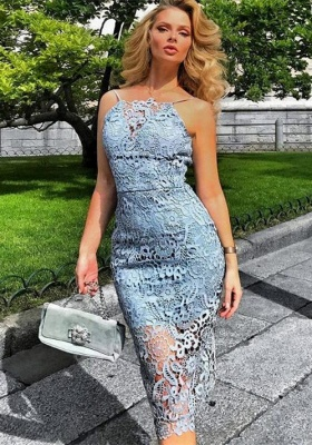 Gorgeous Lace Halter Short Prom Dress | 2020 Mermaid Lace Homecoming Dress BA9781_1