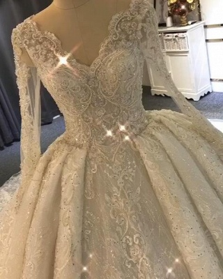 Luxurious Long Sleeve Lace Wedding Dresses   2020 Ball Gown Lace Crystal Bridal Gowns_3