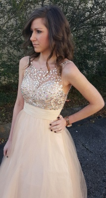 Elegant Sleeveless 2020 Prom Dress Tulle Crystal Evening Gowns_1