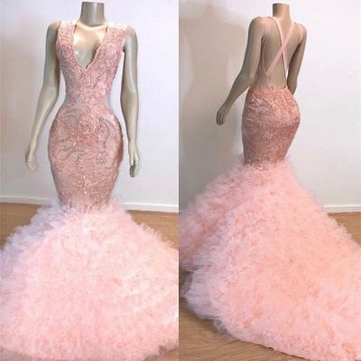 Gorgeous Pink V-Neck Prom Dress | 2020 Mermaid Lace Tulle Evening Gowns BC1619_2