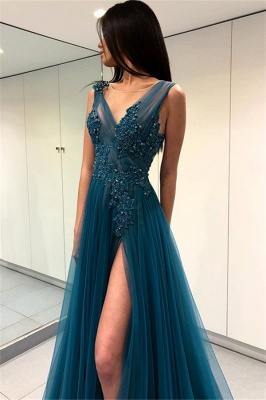 Gorgeous Scoop Long Evening Dress | 2020 Forml Dress With Slit On Sale_1