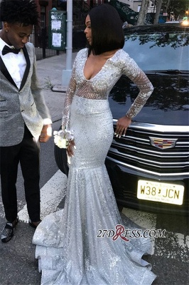 Scoop Sequins Long-Sleeves Mermaid Shiny See-Through Prom Dresses BC0871 bk0_5