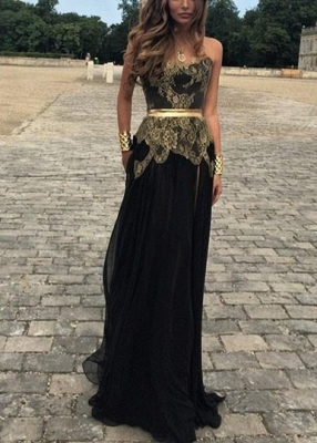 Sexy Sweetheart Gold Appliques Black Evening Dress Long On Sale_1