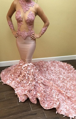 Long-Sleeve Pink Prom Dress | Lace Evening Gowns_1