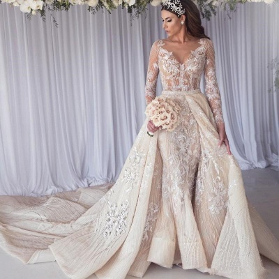 Sexy Long Sleeves Lace Wedding Dress | Mermaid Overskirt Bridal Gowns BC1390_2