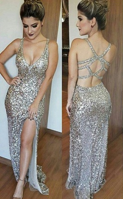 Glamorous V-Neck Sleeveless Sequins Mermaid 2020 Prom Dress TH304_2