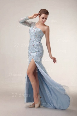 Sexy One Shoulder Tulle Prom Gowns Side Slit Crystal Evening Dresses_6