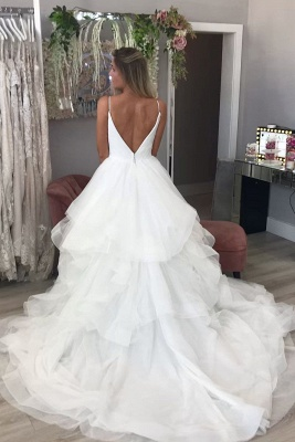Spaghetti Strap Puffy Tulle Wedding Dress Sexy V-Neck Bridal Gowns_2