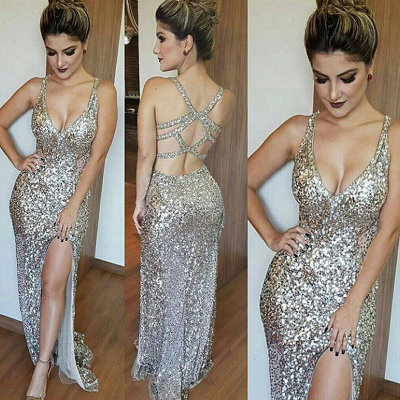 Glamorous V-Neck Sleeveless Sequins Mermaid 2020 Prom Dress TH304_3
