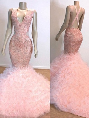 Gorgeous Pink V-Neck Prom Dress | 2020 Mermaid Lace Tulle Evening Gowns BC1619_1