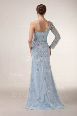 Sexy One Shoulder Tulle Prom Gowns Side Slit Crystal Evening Dresses_4