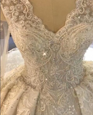 Luxurious Long Sleeve Lace Wedding Dresses | 2020 Ball Gown Lace Crystal Bridal Gowns_2