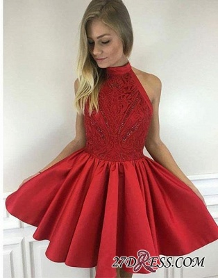 Cute A-line Short Red Beading High-neck Cocktail Dress_3