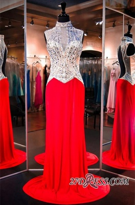 Sweep-Train Crystals High-Neck Sleeveless Red Newest Evening Dress_2