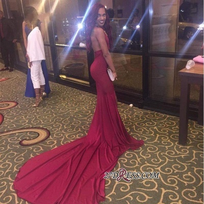 Side-Slit Mermaid Long Open-Back Burgundy Simple Prom Dresses BK0_2