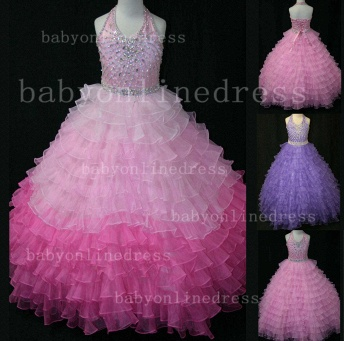 Beaded Ball Gown Dresses for Girls with 2020 Hot Sale Formal Gowns Teens Summer Layered Pageant Shops_1
