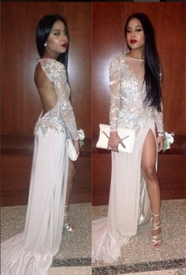 2020 Long Sleeves Prom Dresses Pink Thigh-High Slit Sequined Backless Sexy Evening Gowns_1