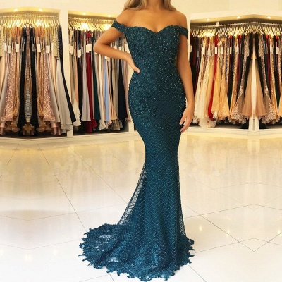 Gorgeous Off-the-Shoulder 2020 Evening Dresses   Mermaid Beadings Long Prom Gowns_2