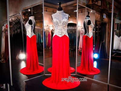 Sweep-Train Crystals High-Neck Sleeveless Red Newest Evening Dress_1