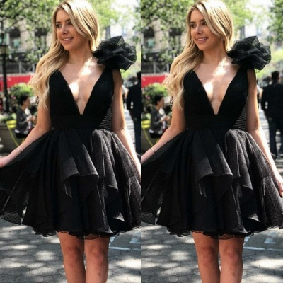 Sexy V-Neck Black Homecoming Dresses | 2020 Short Little Black Dress_2