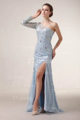 Sexy One Shoulder Tulle Prom Gowns Side Slit Crystal Evening Dresses_5
