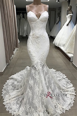 Appliques Glorious Mermaid Sleeveless Spaghetti-Straps Wedding Dresses_3