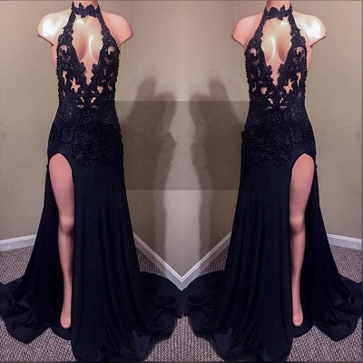 Sexy Black Lace Prom Dresses | 2020 Mermaid Slit Evening Gowns_2