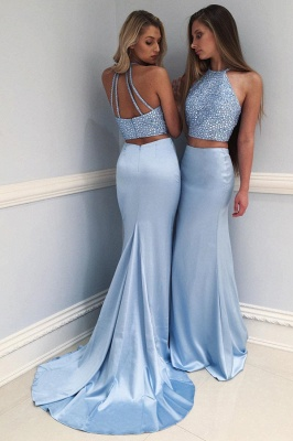 Elegant Halter Two Piece Prom Dress 2020 Mermaid Long With Crystals BA7677_1