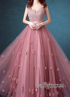 Beaded Long Lace Sleeveless A-line Floral-Appliques Prom Dresses_4